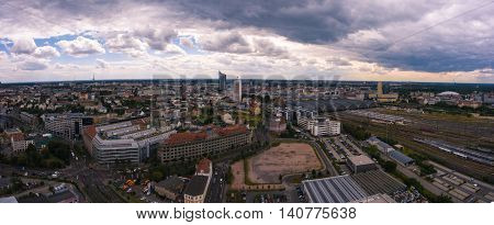 Leipzig, Panorama aerial view town city clouds cloudy