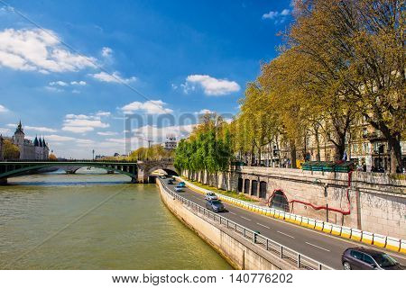 Around Seine river in April - Paris