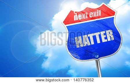 hatter, 3D rendering, blue street sign