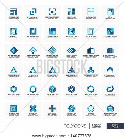 Abstract logo set for business company. Corporate identity design elements. Segment group connect, triangle concept. Polygon, square, rhombus, cross, hexagon geometric logotype collection. Vector icon