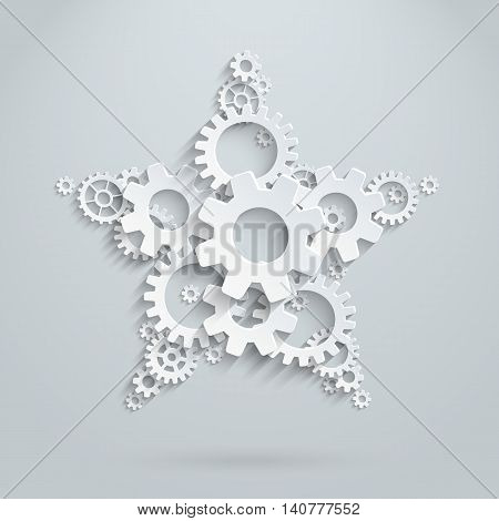 Vector star, made of 3d flat gears. Concept picture for team work and win
