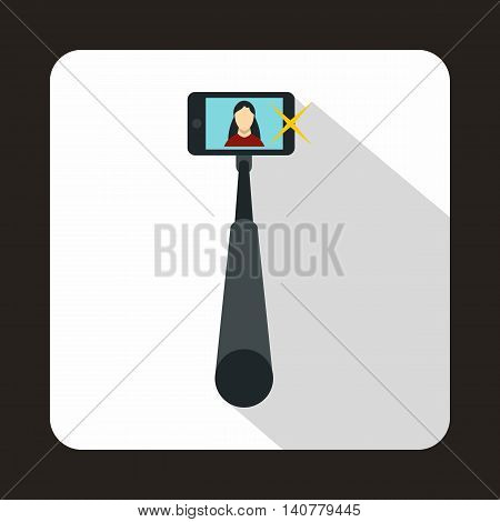 Selfie stick with mobile phone icon in flat style with long shadow. Device symbol