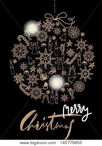 Christmas gold ball made of snowflakes and Christmas elements on black background. Card with white and gold lettering. EPS10. Vector illustration.