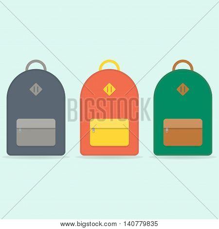 Blue, orange, green backpack. School backpack. Backpack isolated on blue background