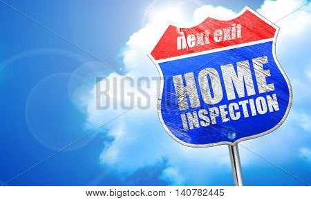 home inspection, 3D rendering, blue street sign