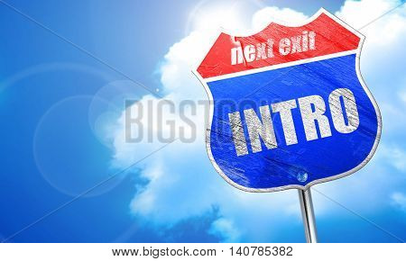intro, 3D rendering, blue street sign