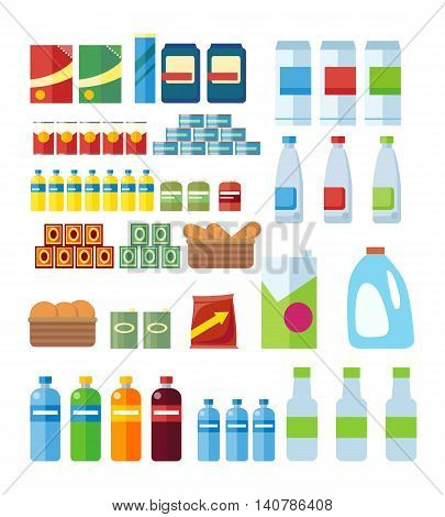 Big set of store products in plastic and aluminum cans. Canned goods and supplies, drinks and dairy products. Retail store icon set. Isolated object on white background. Vector illustration