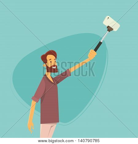 Man Taking Selfie Photo On Smart Phone With Stick Vector Illustration
