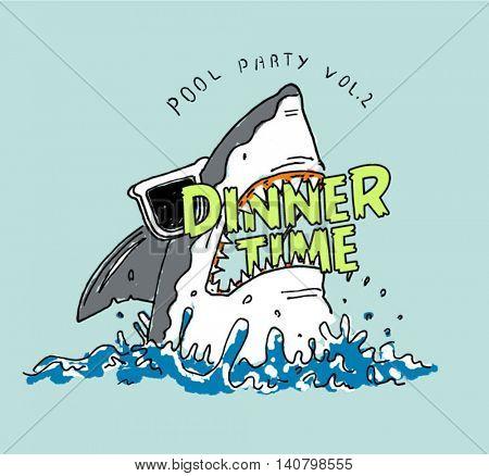 dinner time shark illustration in ocean
