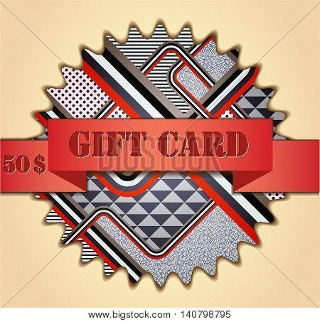 Retro stile abstract gift card. Illustration 10 version