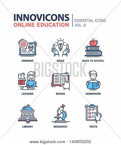 Online Education - modern vector thin line flat design icons and pictograms set. Webinar, ideas, back to school, lessons, books, homework, library, research, tests