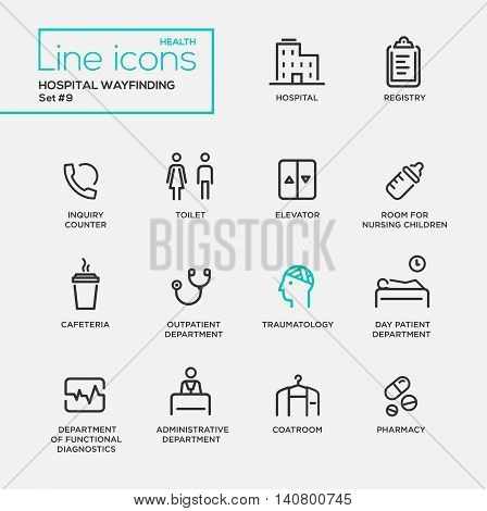 Hospital wayfindings - modern vector plain simple thin line design icons and pictograms set. Registry, coatroom, toilet, nursing room, cafeteria, traumatology, functional diagnostics, pharmacy