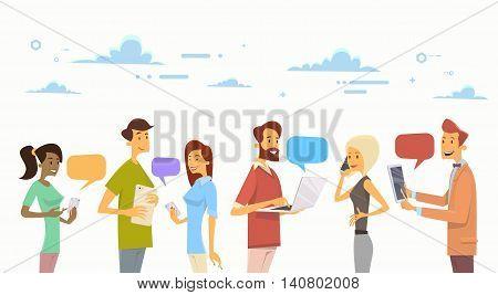 People Chat Digital Device Tablet Phone Laptop Social Network Communication Flat Vector Illustration