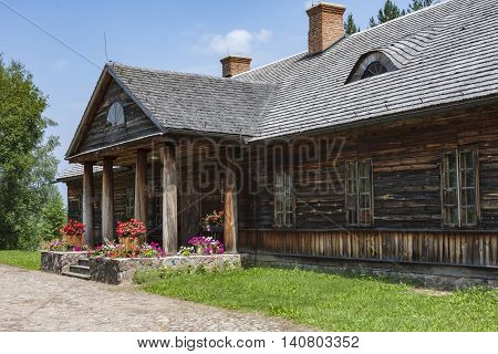 Old country cottage thatched roof in a natural environment