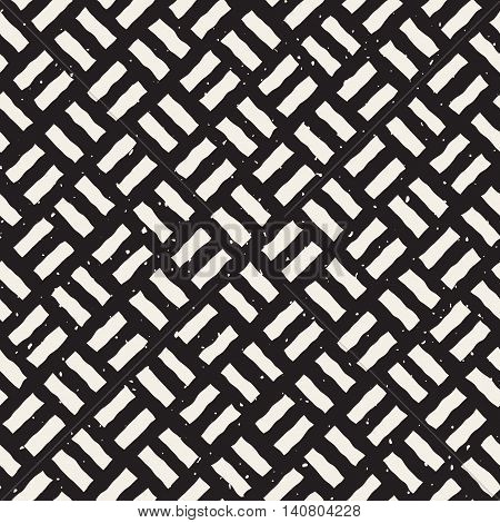 Vector Seamless Black And White Hand Drawn Diagonal Rectangles Pavement Pattern