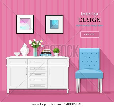 Cute stylish room interior furniture: commode, chair, pictures with long shadows. Flat style vector illustration.