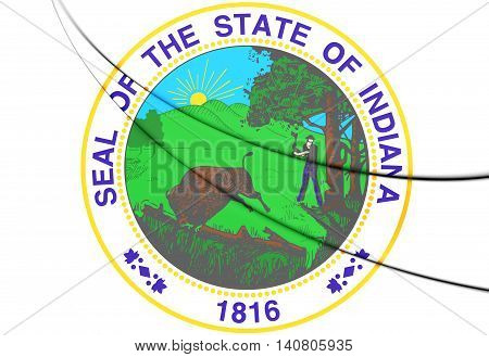 State Seal Of Indiana, Usa. 3D Illustration.