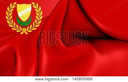 Flag Of Kedah State, Malaysia. 3D Illustration.