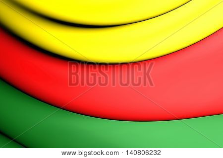 Flag of Western Kurdistan. 3D Illustration. Close Up.