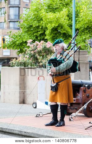 Ceremonial Bagpipe Performance At Nanaimo, Bc