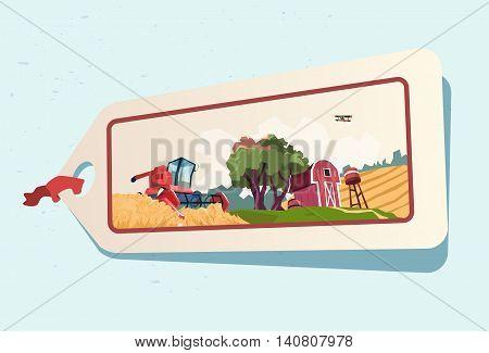 Farm Wheat Field Farmland Countryside Label Flat Vector Illustration