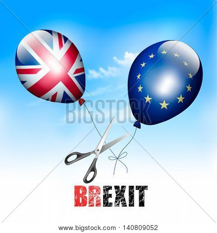 Brexit concept. Scissors cutting EU and UK balloons away from each other. Vector.