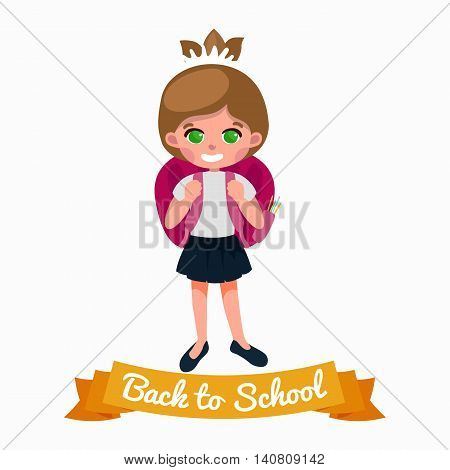 little girl with school backpack and books, back to school concept vector illustration