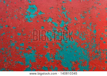 chipped peeling paint, red and green grunge background texture