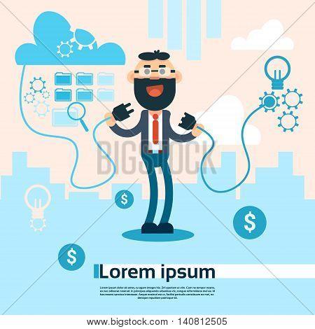 Business Man Connect Electricity Plug Internet Cloud Storage Conncetion Flat Vector Illustration
