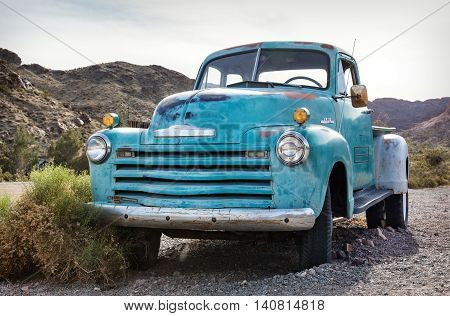 Nelson USA - April 22: Old rusty truck in Nelson Nevada Ghost town on April 22 2016