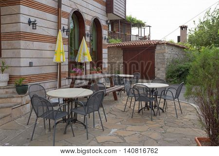 Nessebar, Bulgaria, Juny 20, 2016: Cozy Cafes On Quiet Streets Town Of Nessebar.