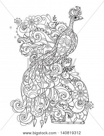 Zen art stylized peacock. Hand drawn doodle boho vector illustration. Sketch for tattoo or anti stress adult coloring book. Bird collection.
