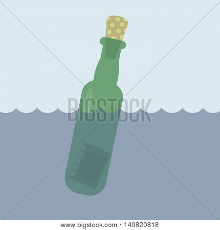 Bottle with a letter of wishes dreams in the sea