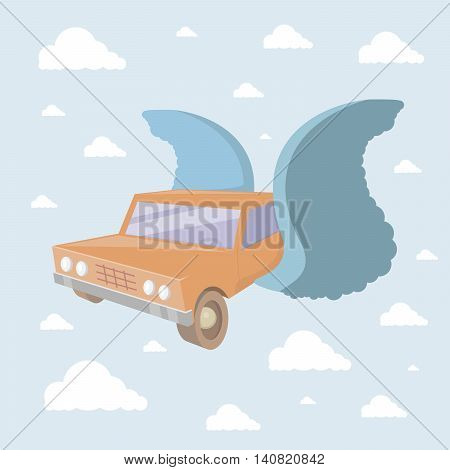 Flying car high in the sky with clouds