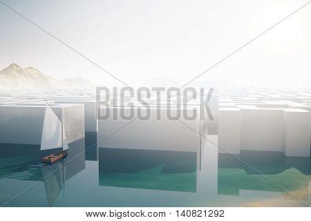 Sailing ship entering labyrinth on landscape background. Business challenge concept. 3D Rendering