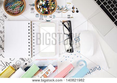 Light Office Desktop With Items
