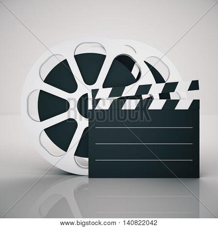 Film reel and clapper on light background. Mock up 3D Rendering
