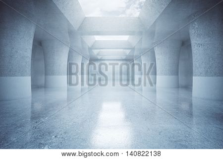 Modern concrete parking interior design with sky view and daylight. 3D Rendering