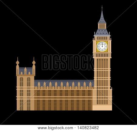 High quality, detailed most famous World landmark. Vector illustration of the Big Ben, the symbol of London and United Kingdom. Travel vector
