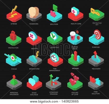 Isometric icons collection of human brain process
