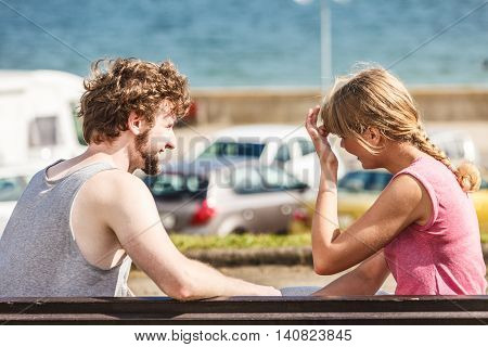 Couple Man And Woman Dating Outdoor.