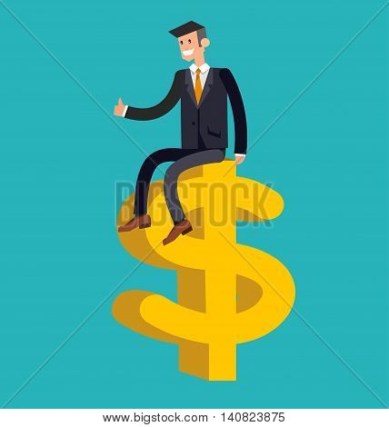 Vector detailed character businessman. Business concept, man moves to success and profit
