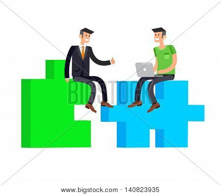 Vector detailed character businessman connecting puzzle pieces. Business concept partnership and solution