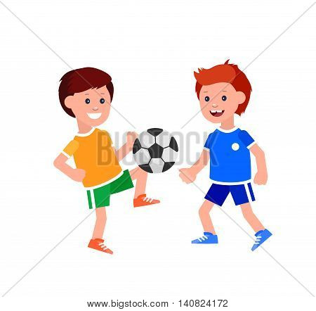 Cute vector character child playing football. Cheerful kid illustration