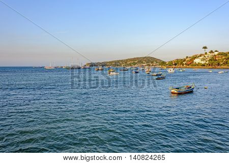 Panoramic view of the city of Buzios in Rio de Janeiro Bardot waterfront and the sea with their boats