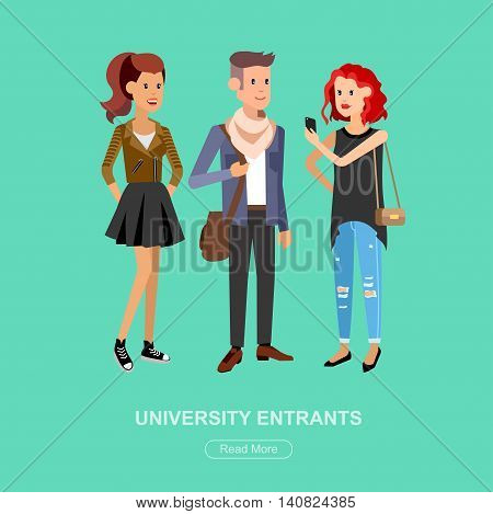 Vector character students, students graduation. University courses, online education, exam preparation