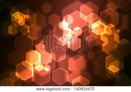 Hexagonal Bokeh abstract background use for graphic design orange