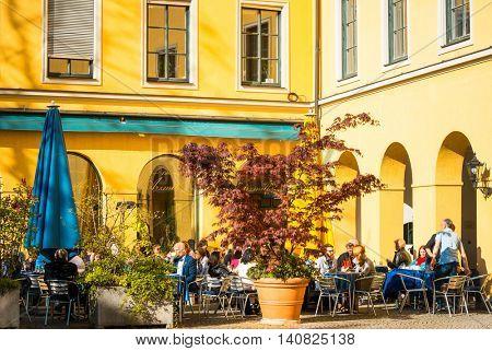 MUNICH, GERMANY-April 29 : Street view of Tourists on foot Street in Downtown Munich on April 29 , 2016, in Munich, Germany.