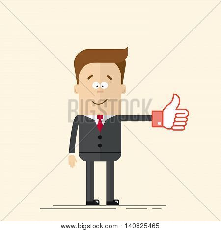 Happy businessman or manager shows a sign Thumb Up red color. Like icon. A man in a business suit and tie. Comic hand. Vector man in a flat, cartoon style
