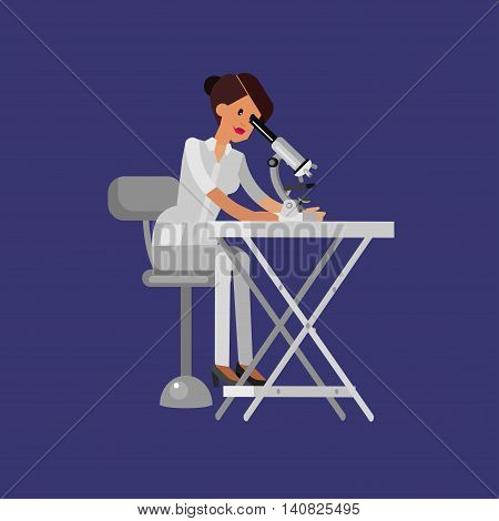 Detailed character men woman scientis, laboratory technician looking through a microscope